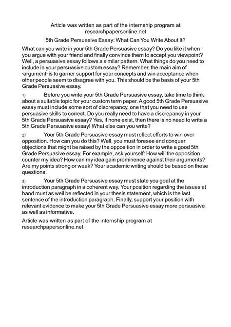46 5th grade persuasive essay topics narrative essay