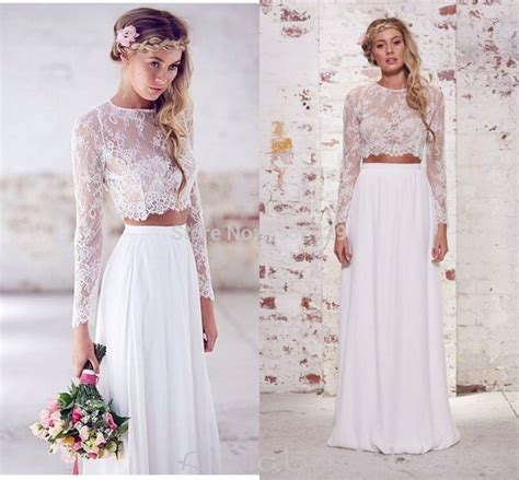 wedding dresses 2015 summer aliexpress buy boho two wedding dress 2015 sheer neck sleeves lace bohemian