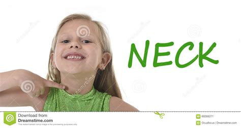 Cute Little Girl Pointing Her Neck In Body Parts Learning