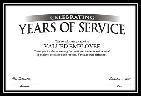 years  service certificate template  service