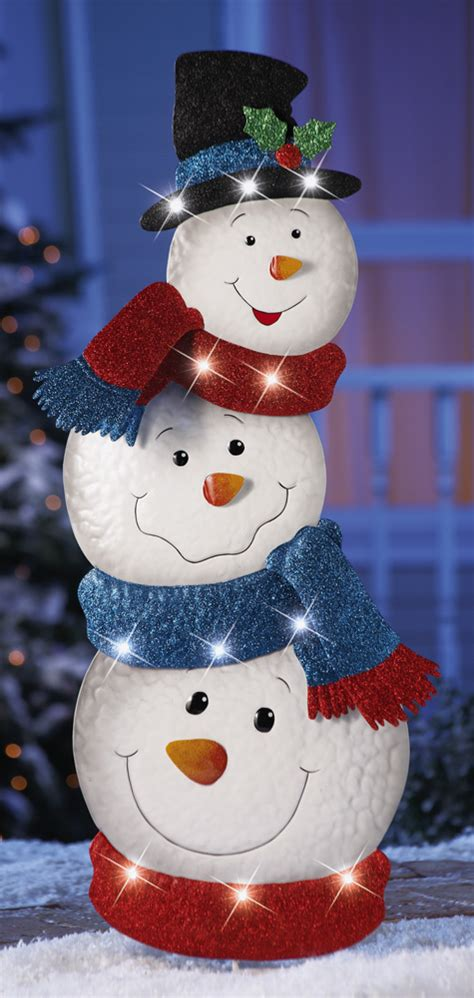 outdoor lighted snowman decorations 34 quot lighted stacked snowmen garden stake christmas yard
