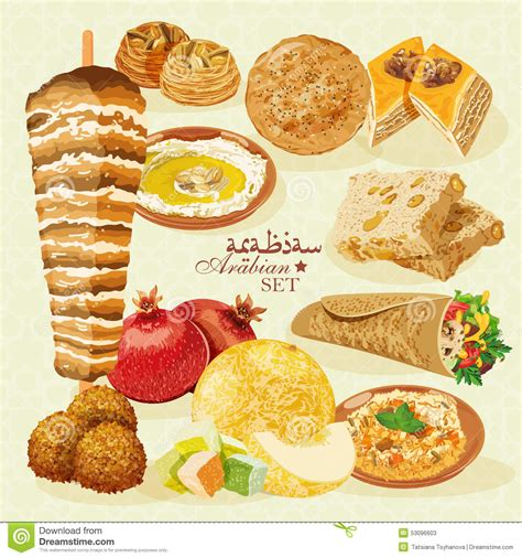 cuisine arabe 4 arabian halal food with pastries and fruit stock vector