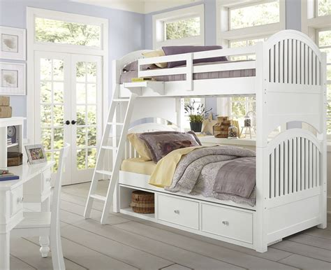 Lake House White Adrain Youth Bunk Bedroom Set With