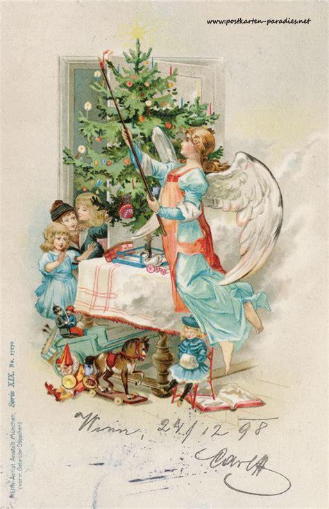alte weihnachtskarten mit engeln alte postkarten