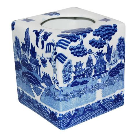 Blue Willow Ware Cube Shaped Tissue Box Cover