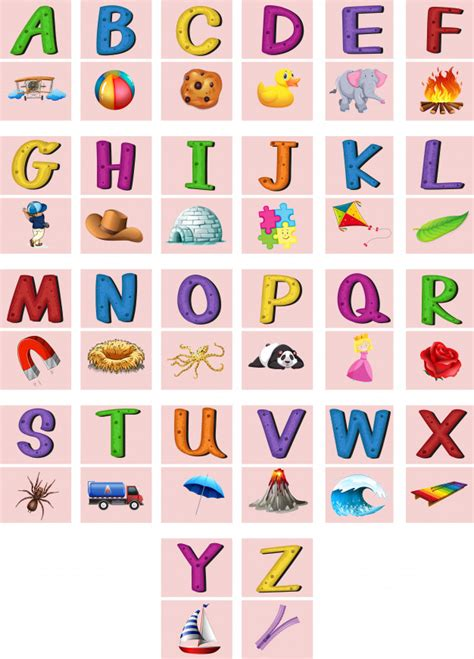 English Alphabets A To Z With Pictures Vector  Free Download