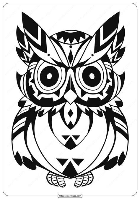 printable owl animal coloring page
