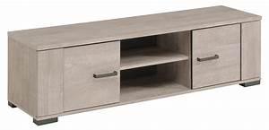 Meuble Bas Sejour : meuble tv bas 2 portes 2 niches gris loft et gris ombre harvey ~ Teatrodelosmanantiales.com Idées de Décoration