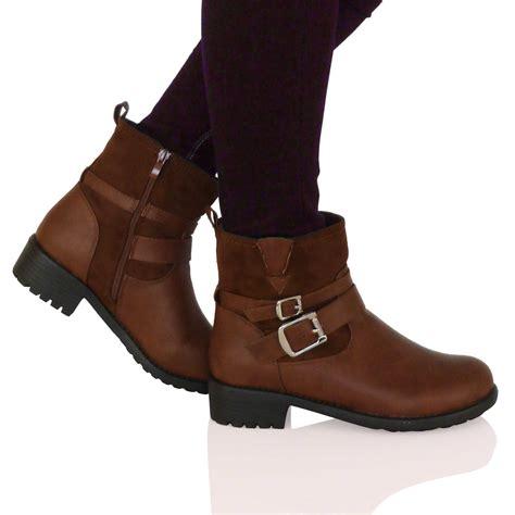 low cut biker boots d7f new womens flat biker ankle boots low cut buckle zip