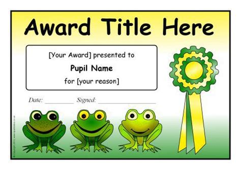 editable frog themed certificate templates sb