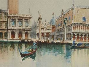 Italian art watercolor painting of tower St. Mark's ...  Italian