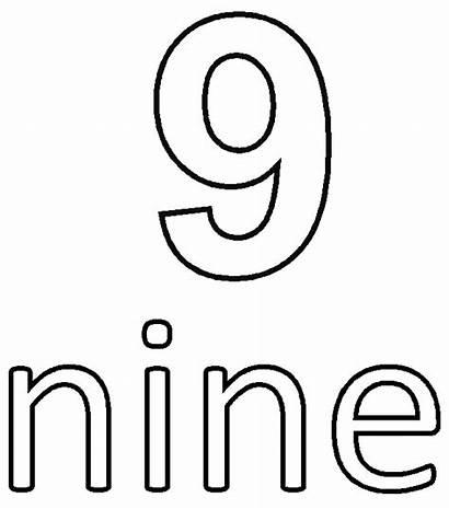 Number Coloring Nine Printable Pages Ten Getcolorings