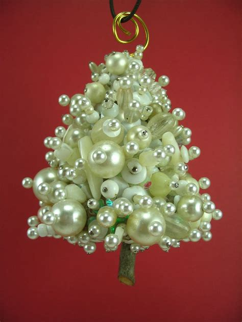 snowy white beaded christmas tree ornament hanging decoration