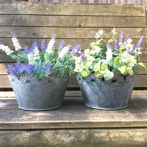 Metal Flower Pots by Vintage Style Grey Set Of 2 Metal Garden