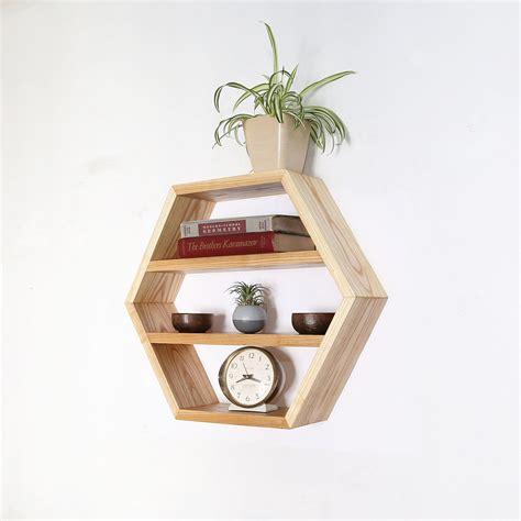 Modern Wooden Geometric Wall Shelves Hexagon Honeycomb