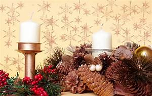 Christmas, Decorations, With, Candles, Cone, Pines, Stock, Image