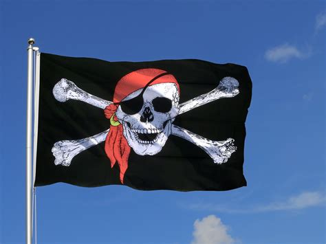 Grand Drapeau Pirate Avec Foulard  150 X 250 Cm