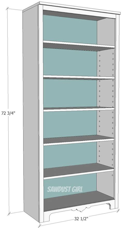 tall bookcase  adjustable shelves project plans