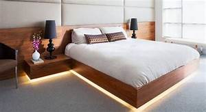Amazing, Modern, Floating, Bed, Design, With, Under, Light