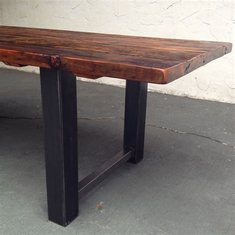wood steel dining table reclaimed wood and steel dining table thecoastalcraftsman