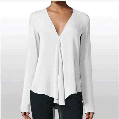 Blouse Neck Sleeve Casual Chiffon Solid Blouses