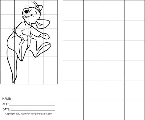 drawing  grids winnie  pooh roo bounces  tail