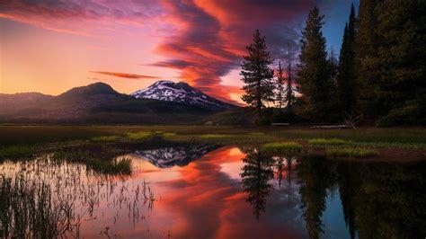 coucher de soleil rouge sur le lac windows  hd fonds