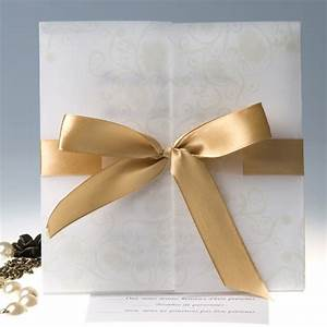 elegant gold ribbon gate fold wedding invitations ewri005 With how to make wedding invitations with ribbon