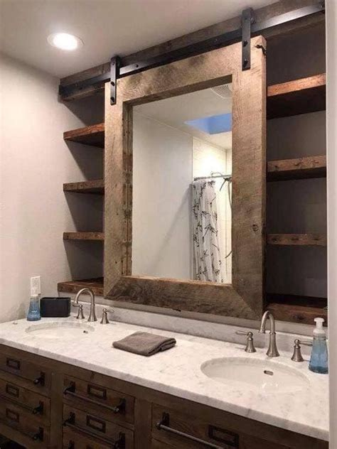 barn door bathroom mirror  vanity modern farmhouse