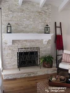 white and grey brick fireplaces contemporary design