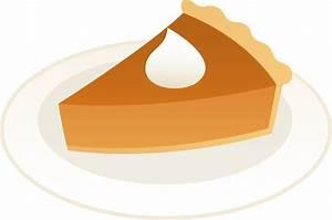 Slice of Pumpkin Pie on Plate - Free Clip Art