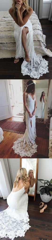 Romantic Boho Wedding Dresses Backless Lace Skirt Mermaid