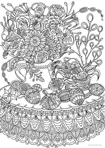 easter eggs  flowers printable adult coloring pages  favoreads