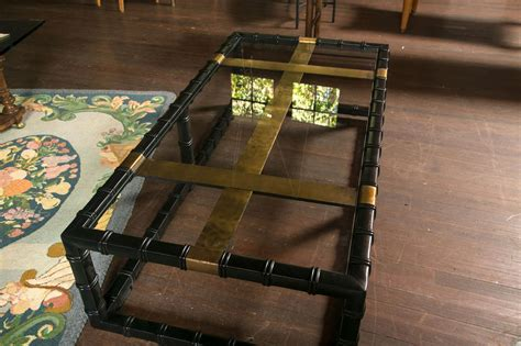 Black Faux Bamboo Coffee Table For Sale at 1stdibs
