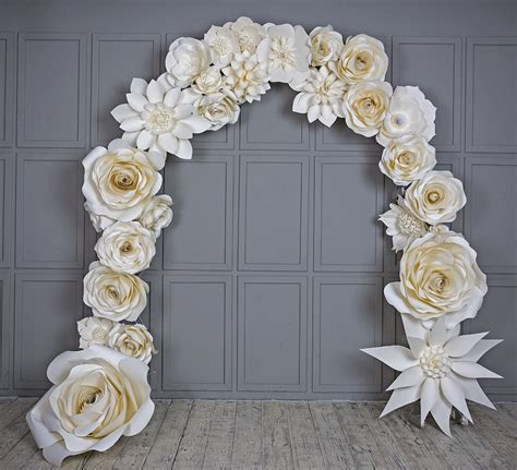 Wedding Arch Paper Flowers Wedding Venue Decoration White
