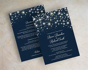 Star wedding invitations navy blue wedding invitations for Navy evening wedding invitations