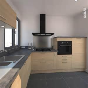 hygena plan de travail cuisine en bois clair structur 233 stilo noyer blanchi hotte inox cuisines en bois clair et