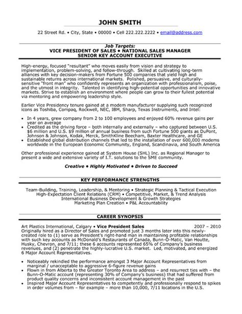 Vp Of Sales Resume by Vp Sales Resume Sle Template