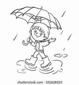 Umbrella Coloring Cartoon Outline Boy Walking Kid Colorful Joyful Shutterstock Rain Spring sketch template
