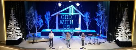 christmas stage decorations manger frame church stage design ideas