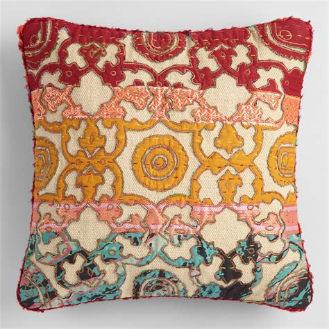 world market pillows sari applique throw pillow world market