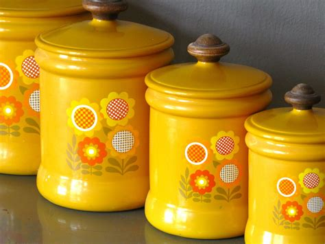 yellow kitchen canister set kitchen canister set metal yellow flower by by ladyfromshanghai