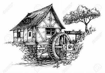 Mill Pencil Water Drawing Drawings Barn Sketches