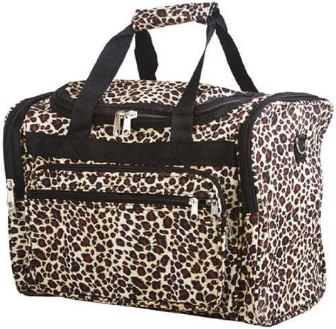 womens leopard animal print duffle bag carry