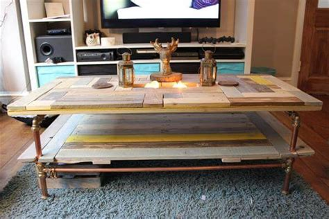 diy industrial coffee table with plumbing pipe base diy pallet and copper pipe coffee table 101 pallets Diy Industrial Coffee Table With Plumbing Pipe Base