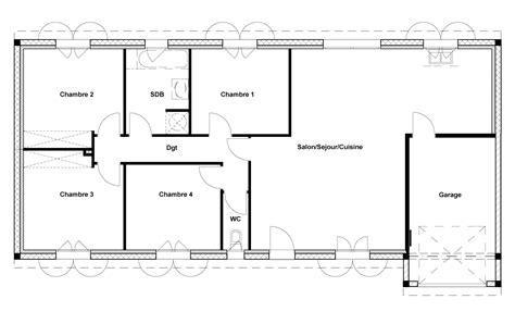 plan de maison 4 chambres salon cuisine