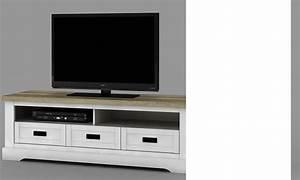 Meuble Bois Et Blanc : meuble tv couleur bois blanc et clair contemporain jackson ~ Teatrodelosmanantiales.com Idées de Décoration