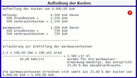 Nebenkosten Berechnen Mietwohnung by Berechnung Heizkosten Mietwohnung Heizkosten Berechnen