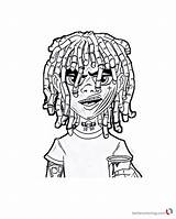Lil Coloring Pump Pages Printable Cute Gucci Gang Sketch Rapper Drawing Template Flex Bettercoloring Ouu Chucky sketch template