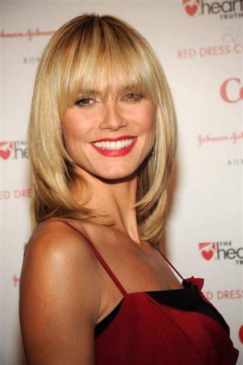 celebrity blunt bangs heidi klum women hairstyles